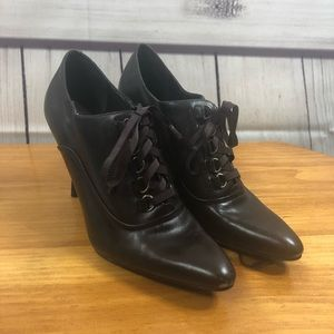 Nine West Brown Lace Up Point Toe Heeled Booties